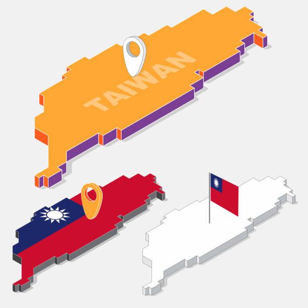 臺灣國旗地圖元素與向量圖的背景下,一個孤立的 3d 等距形狀上 - 台灣 幅插畫檔、美工圖案、卡通及圖標