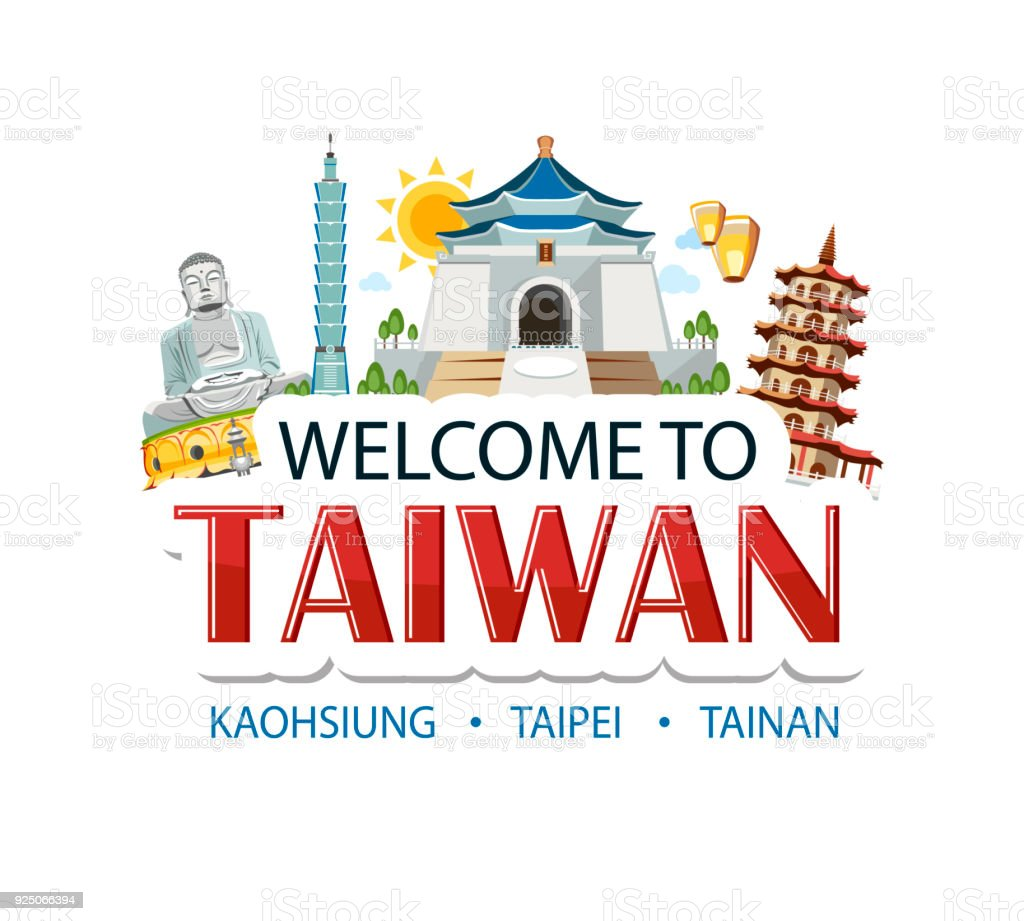 Taiwan Lettering Sticker Header Message With Traditional Sights