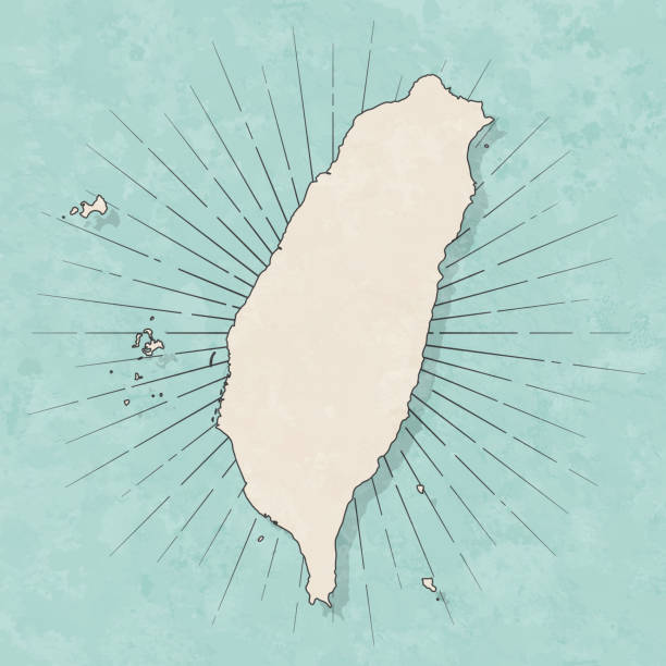 レトロなヴィンテージスタイルで台湾の地図-古い質感の紙 - 台湾点のイラスト素材/クリップアート素材/マンガ素材/アイコン素材