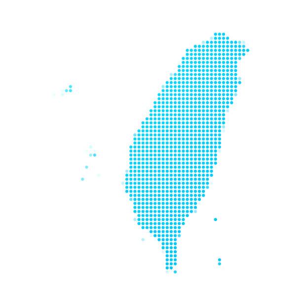 白底藍點的臺灣地圖 - 台灣 幅插畫檔、美工圖案、卡通及圖標