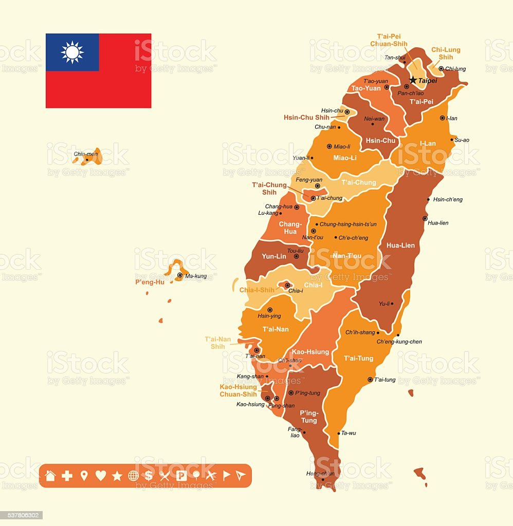 Taiwan Map Stock Vector Art More Images of Asia 537806302 iStock