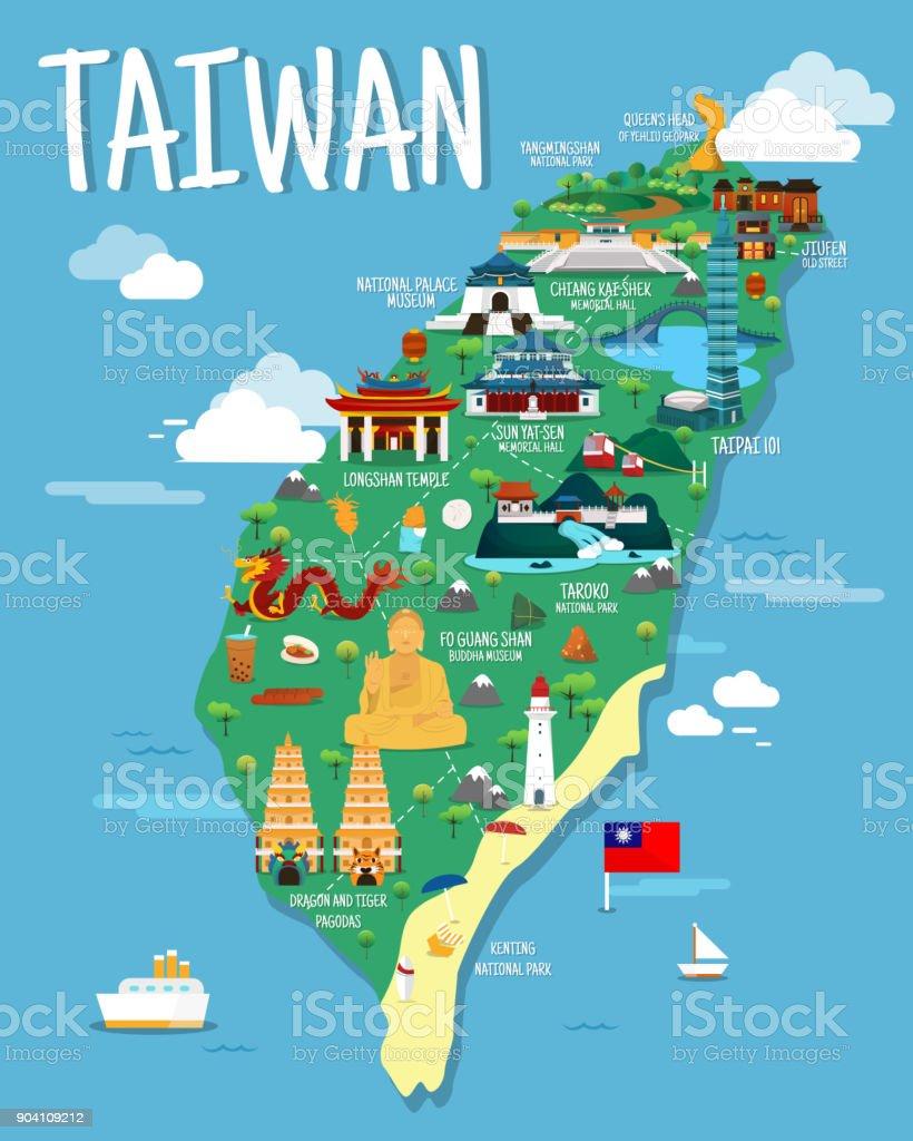 Carte Asie Taiwan.Carte De Taiwan Colorfaul Design De Points De Repere