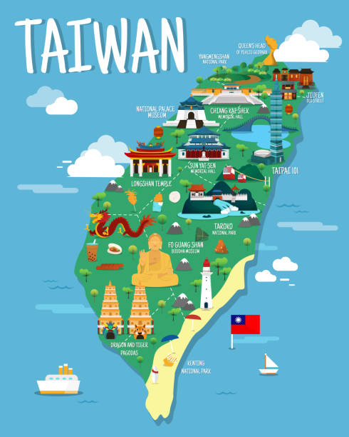 taiwan-karte mit colorfaul wahrzeichen illustration design - insel taiwan stock-grafiken, -clipart, -cartoons und -symbole