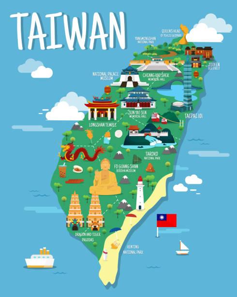 colorfaul ランドマークのイラスト デザインと台湾地図 - 台湾点のイラスト素材/クリップアート素材/マンガ素材/アイコン素材