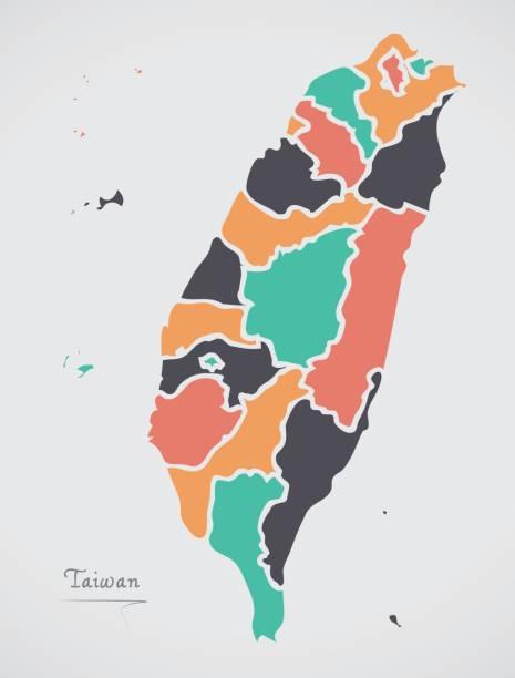 臺灣地圖與國家和現代的圓形狀 - 台灣 幅插畫檔、美工圖案、卡通及圖標