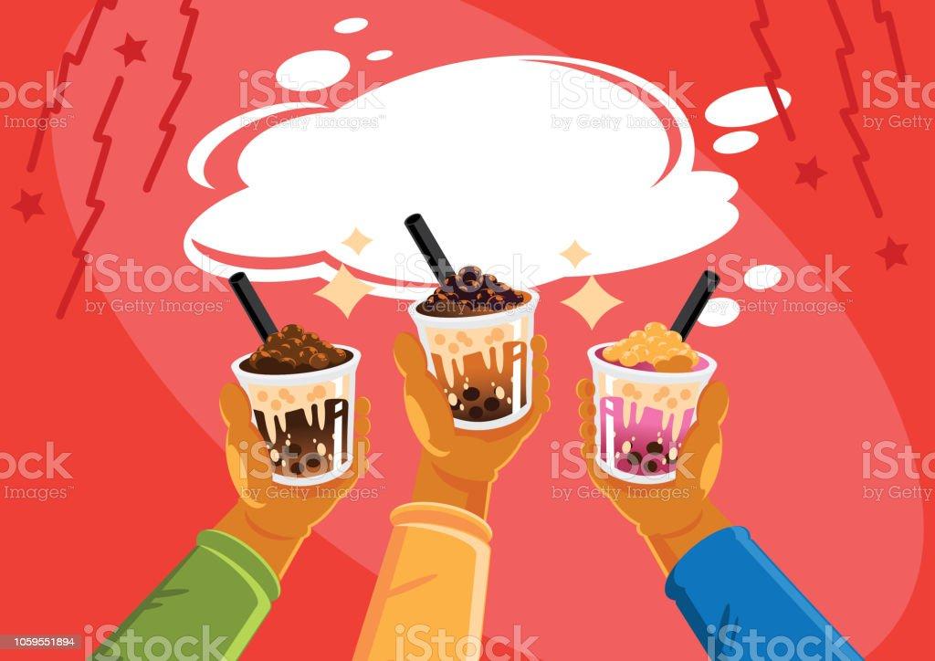 Taiwan milk tea celebrate vector art illustration