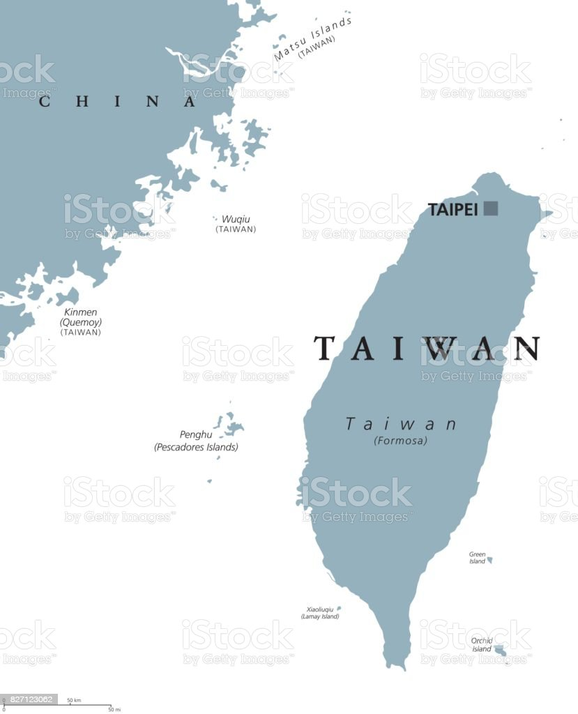 Taiwan or Republic of China ROC political map vector art illustration