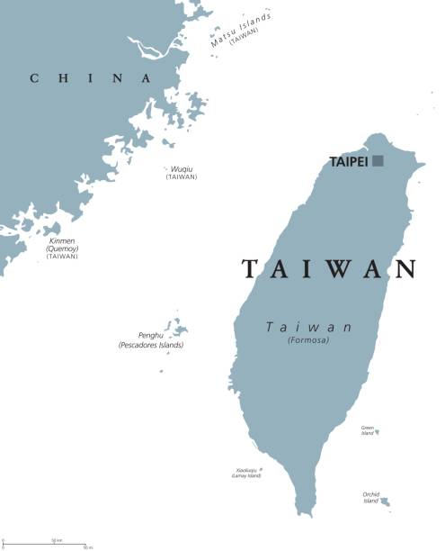 Taiwan or Republic of China ROC political map Taiwan political map with capital Taipei. English labeling. Officially the Republic of China, ROC, a state in East Asia on the island of Taiwan, formerly known as Formosa. Gray illustration. Vector. taiwan stock illustrations
