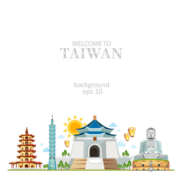 Taiwan panorama background with traditional sights of country architecture Taiwan panorama background with traditional sights of country architecture taiwan stock illustrations