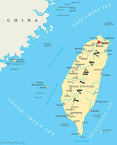 Taiwan, Republic of China, Political Map Taiwan, Republic of China, political map with capital Taipei, national borders, important cities, rivers and lakes. English labeling and scaling. Illustration. taiwan stock illustrations