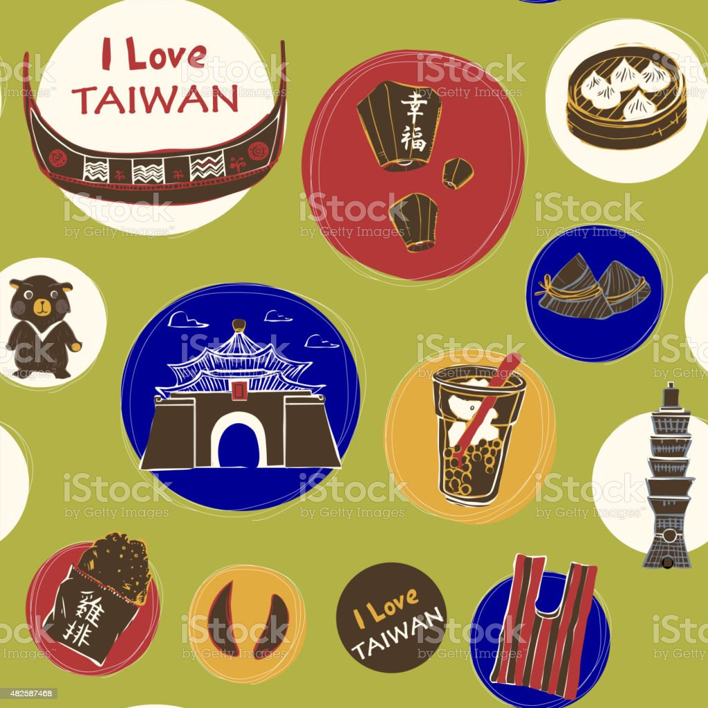 Taiwan travel concept background vector art illustration