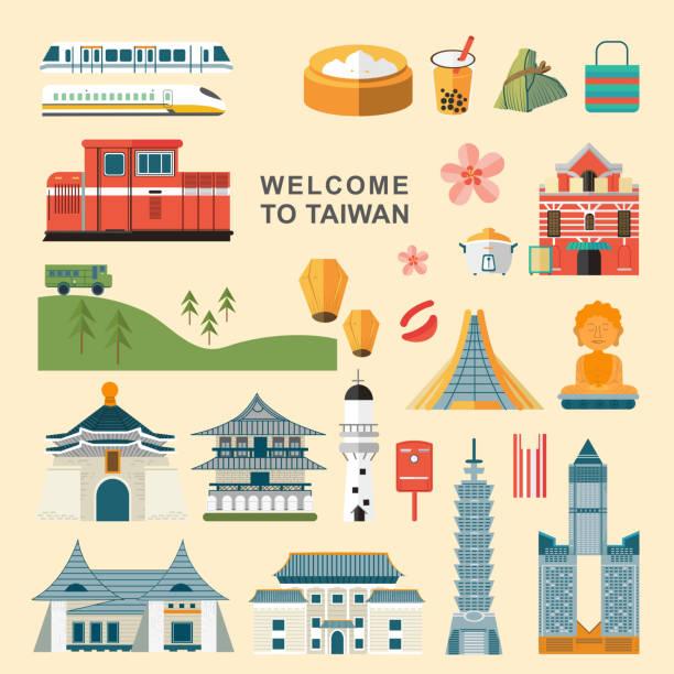 taiwan reisen konzept-kollektionen - insel taiwan stock-grafiken, -clipart, -cartoons und -symbole