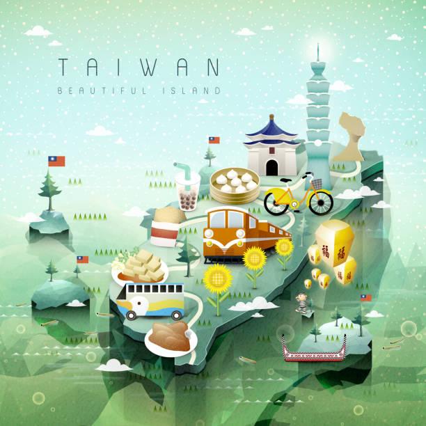 taiwan-karte - insel taiwan stock-grafiken, -clipart, -cartoons und -symbole