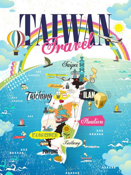 taiwan travel map - 台灣 幅插畫檔、美工圖案、卡通及圖標