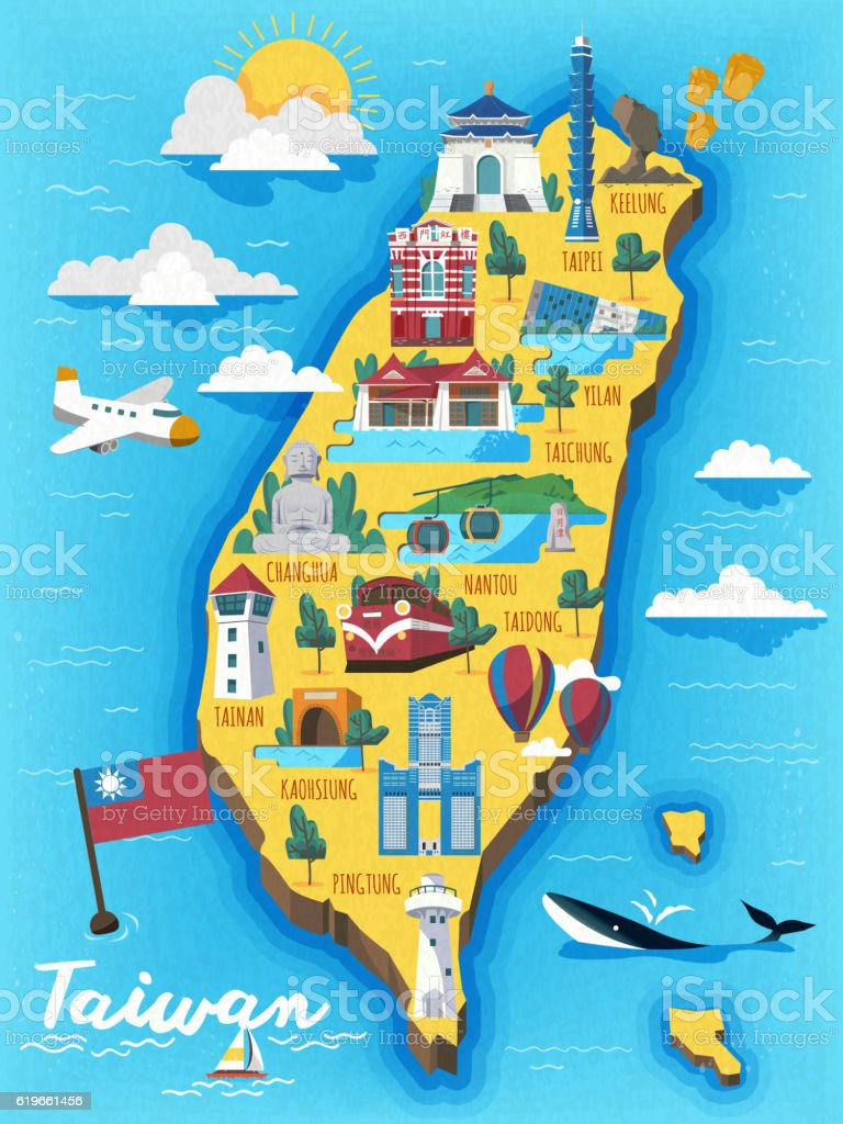Taiwan travel map stock vector art 619661456 istock taiwan travel map royalty free stock vector art sciox Images