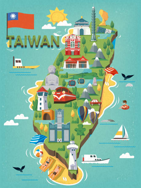 Taiwan travel map Taiwan travel map, with chinese characters writing sun moon lake on the stele and the red house on the red building taiwan stock illustrations