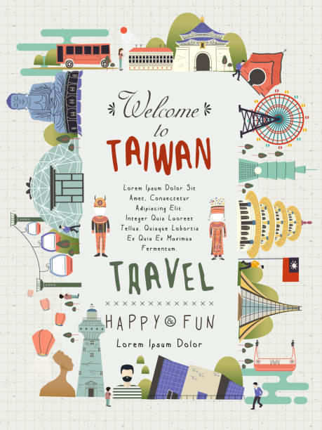 Taiwan travel poster lovely Taiwan travel poster design with famous attractions taiwan stock illustrations