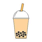 Taiwanese bubble milk tea. Line art design. Vector illustration.