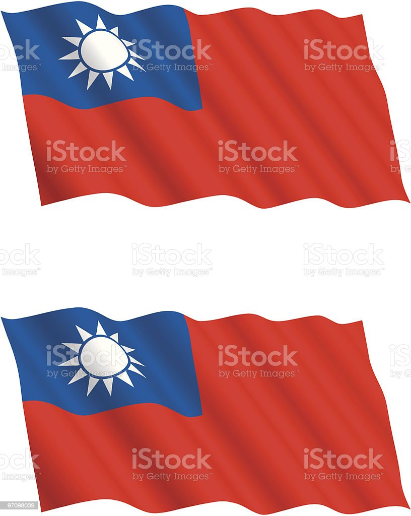 Taiwanese Flag Flying in the Wind royalty-free stock vector art