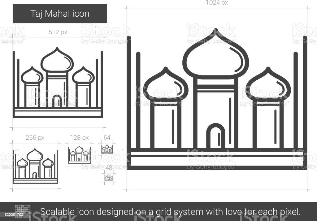 Taj Mahal line icon vector art illustration