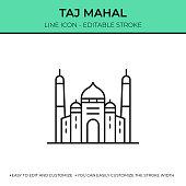 istock Taj Mahal Single Line Icon 1333886084