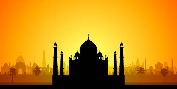 Taj Mahal Taj Mahal. agra jama masjid mosque stock illustrations