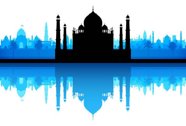 Taj Mahal (All Buildings Are Complete and Moveable) Taj Mahal. All buildings are complete and moveable. agra jama masjid mosque stock illustrations