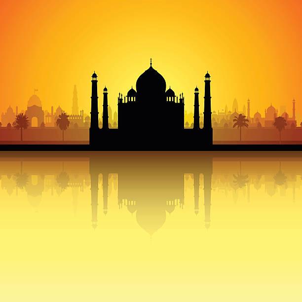 Taj Mahal (All Buildings Are Complete and Moveable) Taj Mahal, Agra, India agra jama masjid mosque stock illustrations
