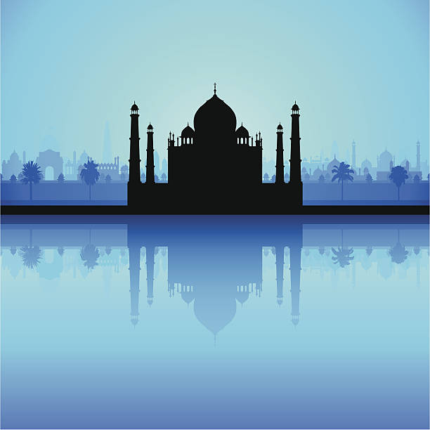 Taj Mahal (Detailed, Moveable Buildings) Taj Mahal with India in the background. Each building is complete and highly detailed and can be used separately if needed. The palm trees are also highly detailed. agra jama masjid mosque stock illustrations