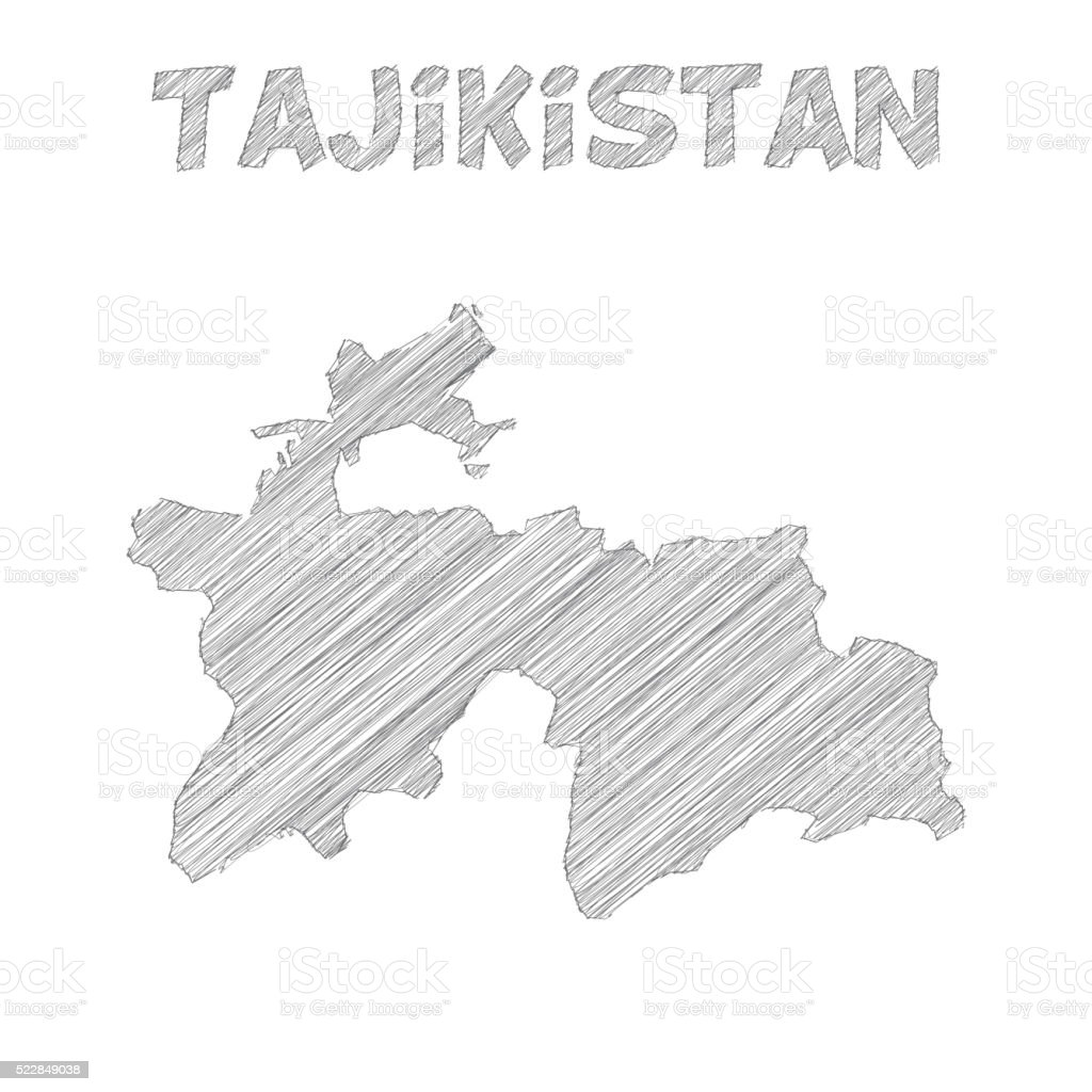 Tajikistan Map Hand Drawn On White Background Stock Vector Art - Tajikistan map vector