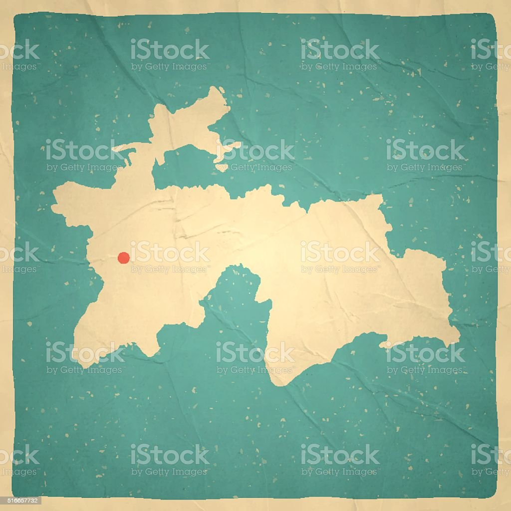 Tajikistan Map On Old Paper Vintage Texture stock vector art