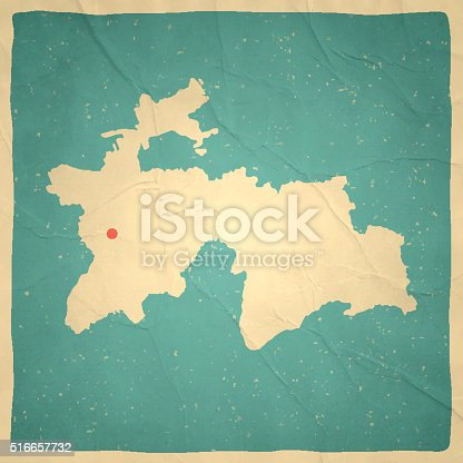 Tajikistan Map On Old Paper Vintage Texture Stock Vector Art - Middle east map dushanbe