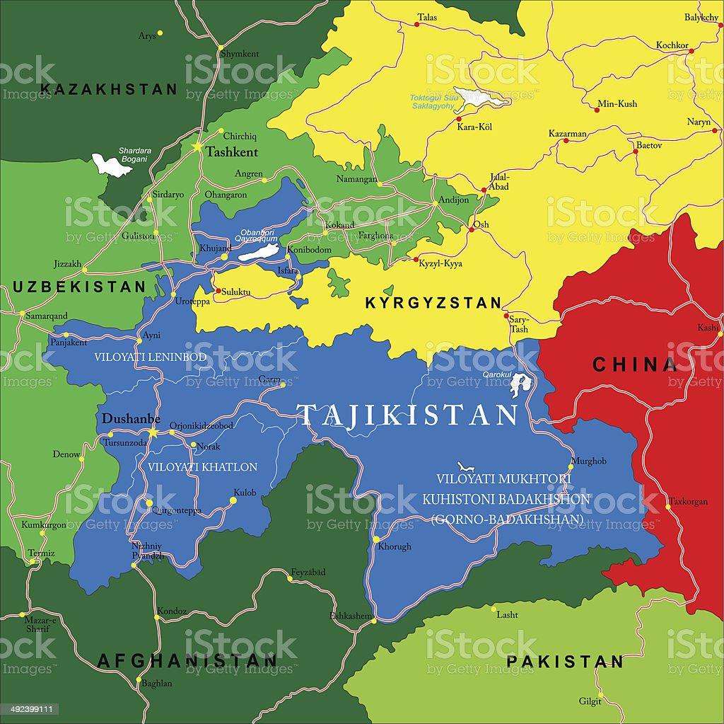 Tajikistan Map Stock Vector Art & More Images of Afghanistan ...