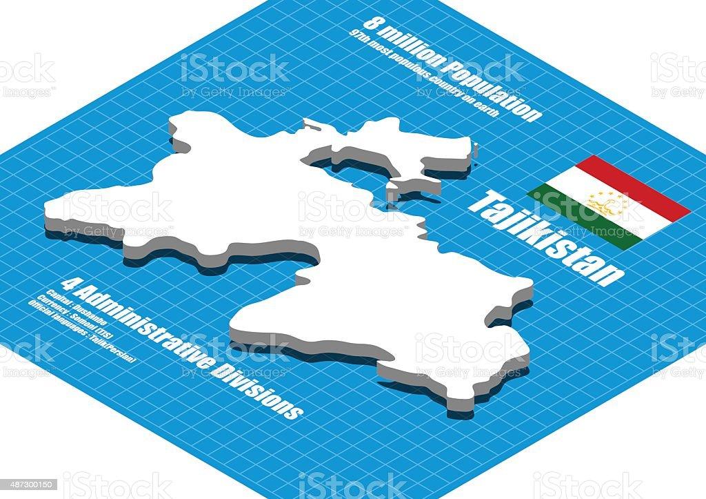Tajikistan Map Vector Three Dimensional Stock Vector Art - Tajikistan map vector