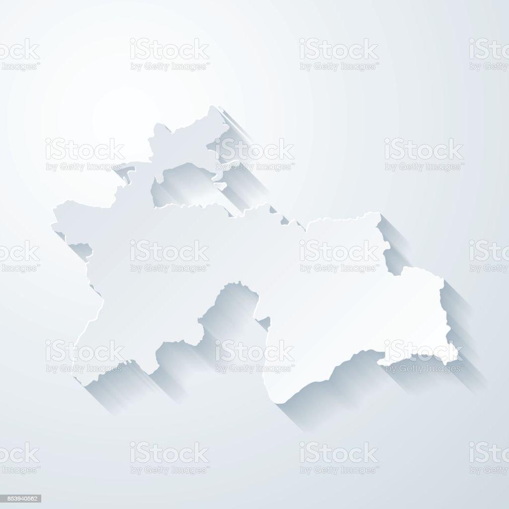 Tajikistan Map With Paper Cut Effect On Blank Background Stock - Tajikistan map vector