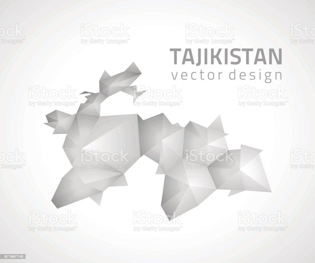 Tajikistan Vector Polygonal Grey And Silver Triangle Map Stock - Tajikistan map vector