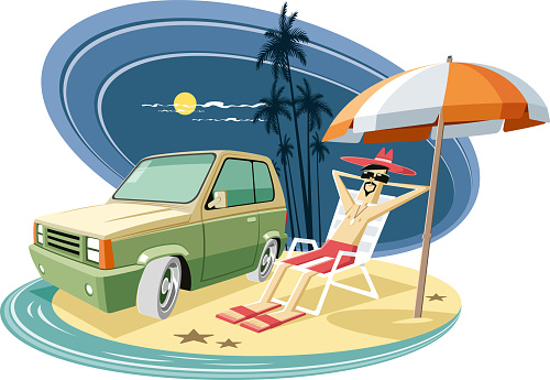 Easy editable beach  and tourist vector illustration. All elements was layered seperately...