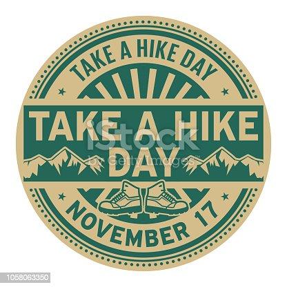 Take A Hike Day, November 17, rubber stamp, vector Illustration