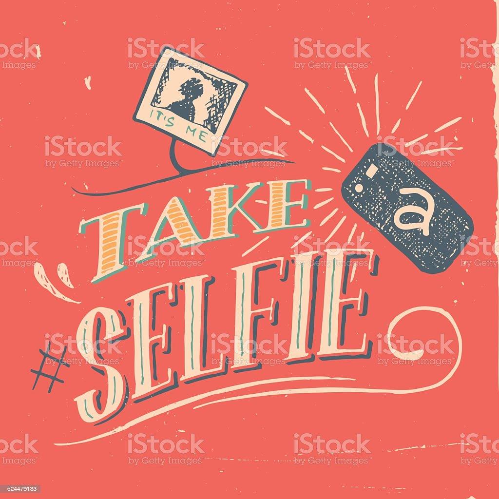 Take a selfie poster vector art illustration