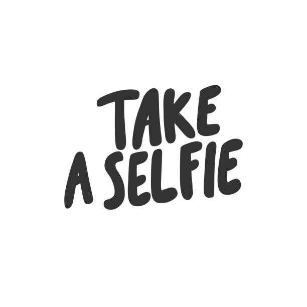stockillustraties, clipart, cartoons en iconen met maak een selfie. sticker voor sociale media-inhoud. vector hand getekende illustratie ontwerp. - selfie
