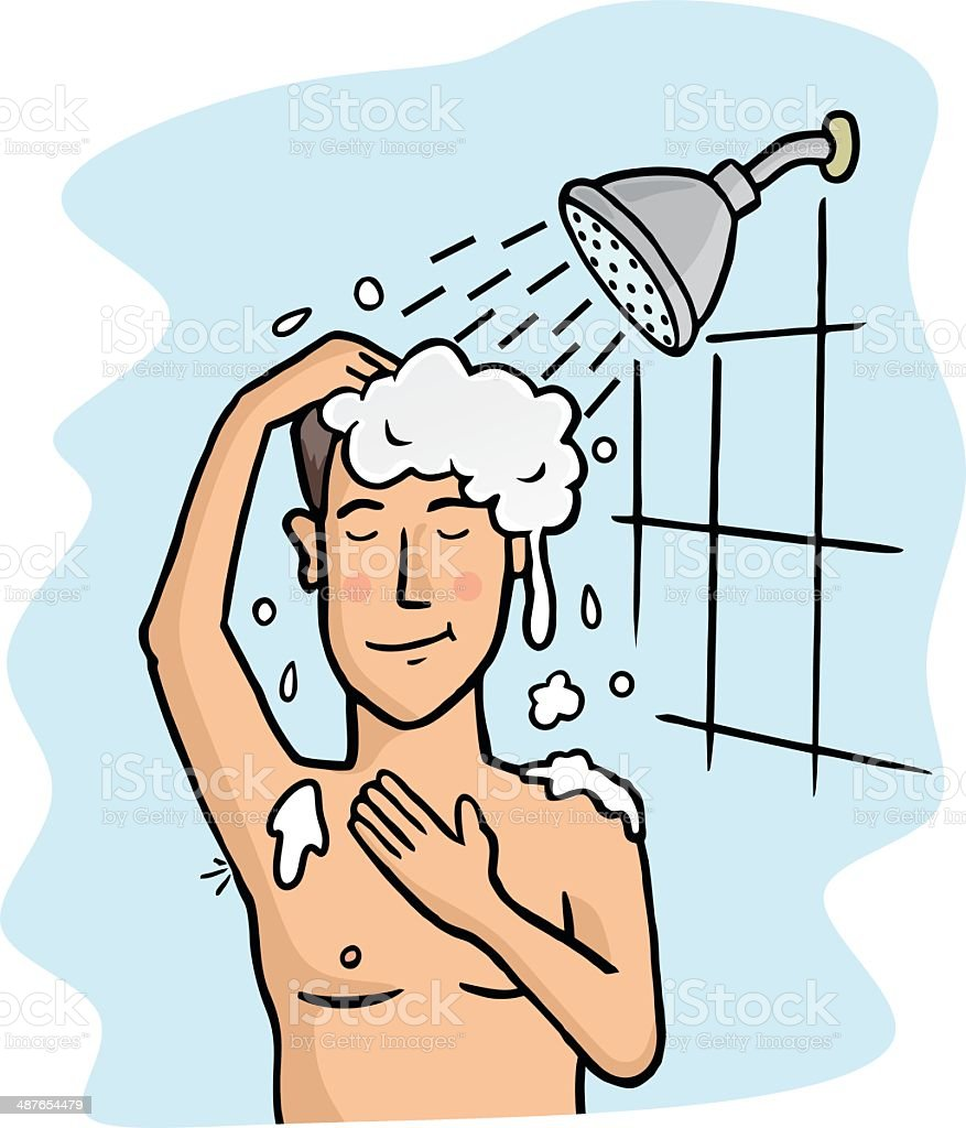 take a shower stock vector art more images of adult 487654479 istock rh istockphoto com someone taking a shower clipart Shower Clip Art