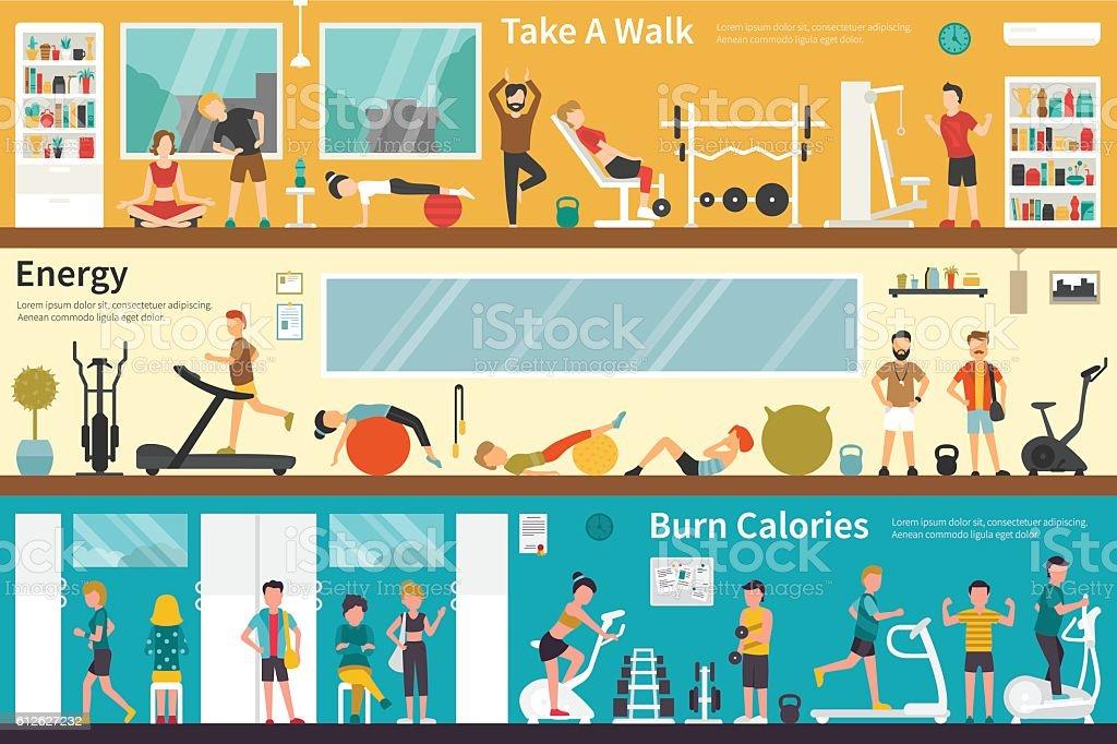 Take A Walk Energy Burn Calories flat interior outdoor concept vector art illustration