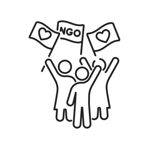 stockillustraties, clipart, cartoons en iconen met neem maatregelen in de auto van de zwarte lijn pictogram. non-profit gemeenschap. liefdadigheid, humanitaire hulp concept. overzichtpictogram voor web-pagina, mobiele app, promo. - non profit