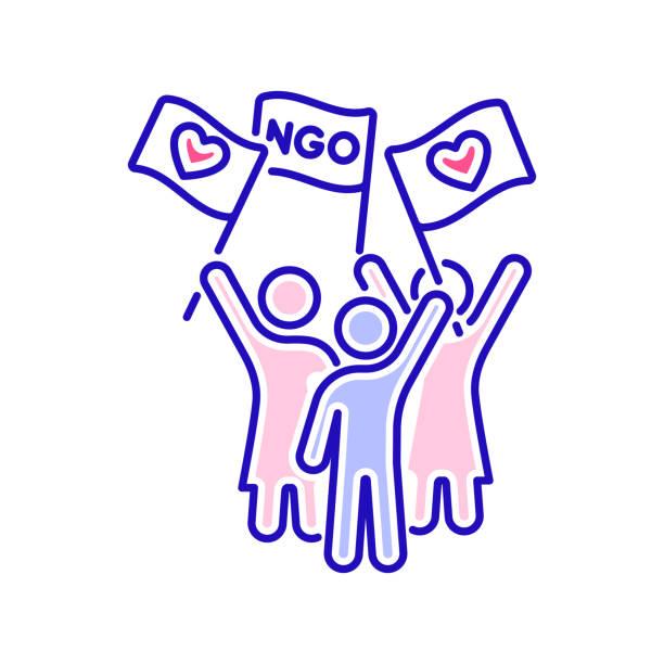 stockillustraties, clipart, cartoons en iconen met onderneem actie in het vrijwilligerswerk kleurlijn pictogram. non-profit gemeenschap. liefdadigheid, humanitaire hulp concept. overzichtpictogram voor web-pagina, mobiele app, promo. - non profit