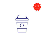 Disposable Cup Icon with Editable Stroke and Pixel Perfect.