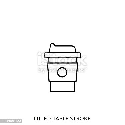 Take Away Coffee Cup Line Icon with Editable Stroke and Pixel Perfect.