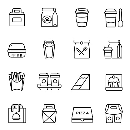 Take away food and drinks linear icons set clipart