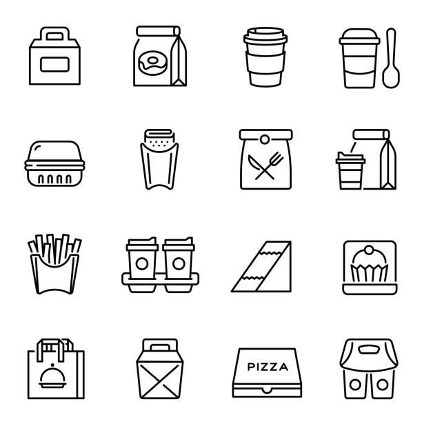 ilustrações, clipart, desenhos animados e ícones de tire alimentos e bebidas conjunto ícones lineares - recipiente