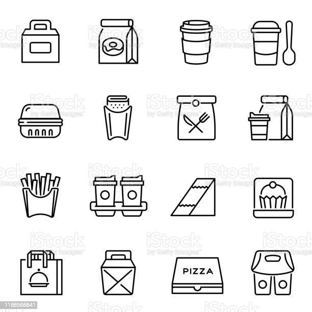Take Away Food And Drinks Linear Icons Set - Stockowe grafiki wektorowe i więcej obrazów Biały