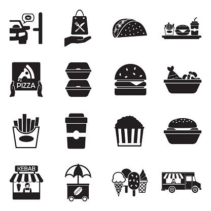 Take Away Icons. Black Flat Design. Vector Illustration.